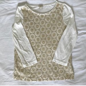 J. Crew cream gold lace long sleeve top